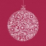 玩具的手拉的例证圣诞树的 概略新年装饰 免版税库存照片