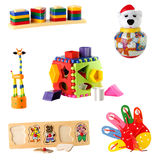 玩具的汇集在白色背景隔绝的幼儿的 库存图片