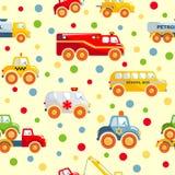 玩具运输无缝的样式 库存图片