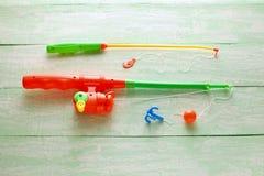 玩具钓鱼竿 免版税图库摄影