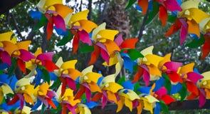 玩具风车在公园 免版税库存图片