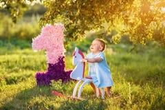 玩具马的小女孩 库存图片