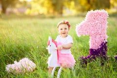 玩具马的小女孩 库存照片