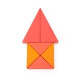 玩具阻拦象一个房子的形状有裁减路线的 免版税库存图片