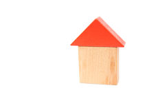 玩具阻拦象一个房子的形状白色的 免版税库存照片