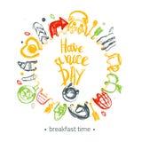 玩得高兴与早餐集合和食物的滑稽的元素的在圈子的行情和字法塑造 能为菜单使用 库存图片