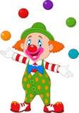 玩杂耍与五颜六色的球的愉快的小丑 库存例证