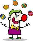 玩杂耍复活节彩蛋的动画片小丑 免版税图库摄影