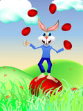 玩杂耍用鸡蛋的兔宝宝 免版税库存照片