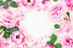 玫瑰、桃红色花和叶子圆的花圈框架在白色背景 平的位置,顶视图 免版税库存照片