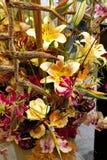 玫瑰和兰花五颜六色的花束  库存图片