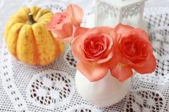 玫瑰和南瓜 免版税库存照片