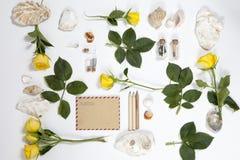 从玫瑰和壳叶子的框架在白色背景 夏天记忆  免版税库存照片