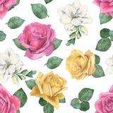 玫瑰和小苍兰的美好的花卉样式 库存照片