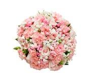 玫瑰和康乃馨美丽的婚礼花束  查出 图库摄影