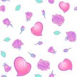 玫瑰和心脏St华伦泰` s天欢乐无缝的样式 向量例证