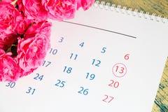 玫瑰和日历 库存照片