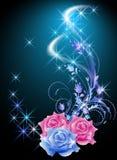 玫瑰和星 库存例证