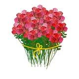 玫瑰和白色背景花束  红色flo巨大的花束  免版税库存图片