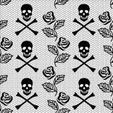 玫瑰和头骨的无缝的样式 免版税库存照片