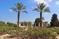 玫瑰园、棕榈和太阳时钟,公园拉马特甘Hanadiv,以色列 库存图片