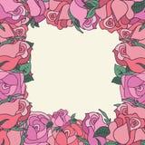 玫瑰圈子与空间的文本的 免版税库存照片