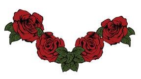玫瑰在经典纹身花刺样式的束illustraion 皇族释放例证