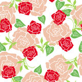 玫瑰墙纸无缝的样式 免版税库存照片