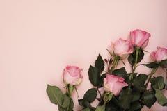 玫瑰惊人的桃红色花束在有魄力的桃红色背景的 复制空间,花卉框架 婚礼、礼品券、华伦泰` s天或者母亲 免版税库存照片