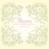 玫瑰或牡丹与居住的珊瑚、绿色和白色的花分支花圈  婚姻的花卉框架设计元素 库存例证