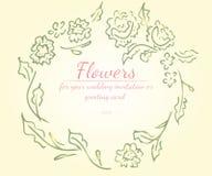玫瑰或牡丹与居住的花分支珊瑚,绿色,贤哲,白色花蜜颜色花圈  r 库存例证