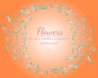 玫瑰或牡丹花花圈与居住的珊瑚、绿松石和白色 r 皇族释放例证