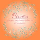 玫瑰或牡丹花花圈与居住的珊瑚、苍白绿松石和白色 您的花卉框架设计元素 向量例证
