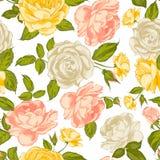 玫瑰无缝的背景。 库存照片