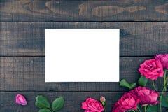 玫瑰框架在黑暗的土气木背景的与空的卡片 库存图片