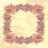 玫瑰框架在黄色背景的 免版税库存照片