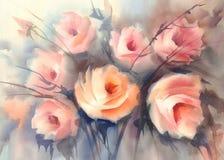玫瑰橙色花束水彩 免版税图库摄影