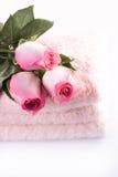玫瑰毛巾 免版税库存图片