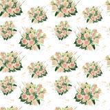 玫瑰水彩花束的无缝的样式  免版税图库摄影