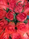 玫瑰深橙色花花束  免版税图库摄影