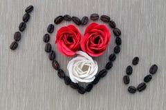 玫瑰用咖啡 免版税库存照片