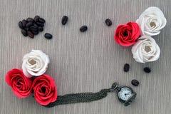 玫瑰用咖啡 免版税库存图片