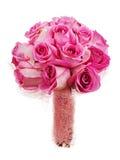 从玫瑰的婚礼花束在白色backgroun隔绝的新娘的 免版税库存照片