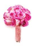 从玫瑰的婚礼花束在白色backgroun隔绝的新娘的 库存照片