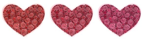 玫瑰的心脏绘与在圣徒情人节被隔绝的笔和水彩 库存例证