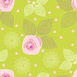 玫瑰的无缝的样式在绿色背景的 也corel凹道例证向量 免版税库存图片