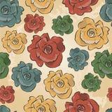 玫瑰的葡萄酒花卉无缝的向量模式 免版税图库摄影