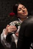 给玫瑰的骑士夫人 库存图片