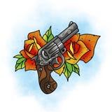 玫瑰色传统的纹身花刺和枪设计 免版税图库摄影