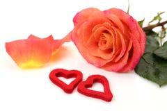 玫瑰色的罚款和心脏 免版税库存图片